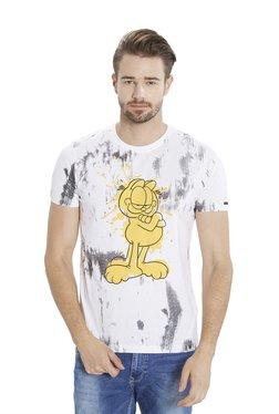 Garfield By Status Quo White Round Neck T-Shirt