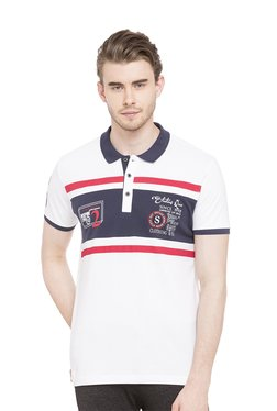 Status Quo White Slim Fit Cotton Printed Polo T-Shirt