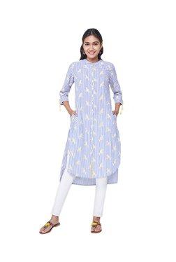 Global Desi Blue Printed Cotton Tunic