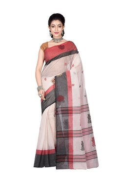 Bengal Handloom White Cotton Floral Print Saree With Blouse