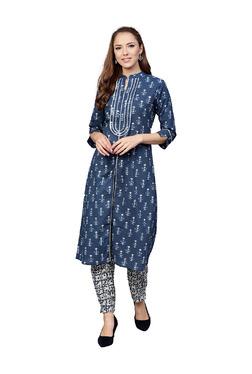 Jaipur Kurti Blue Floral Print Cotton Kurta With Pants