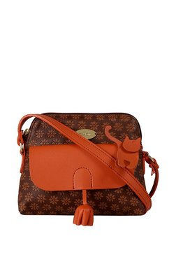 St.Holii By Holii Cherry 01 Brown & Tan Embossed Sling Bag