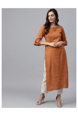 c0e0e33087937 Gerua Orange Textured Cotton Straight Kurta
