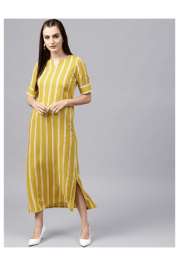 510f199db Gerua Yellow Striped Midi Dress