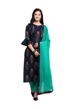 Inddus Navy Cotton Floral Print Dress Material