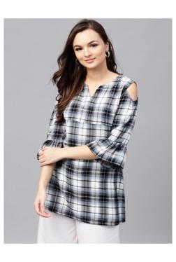 Gerua Black & White Checks A-Line Kurti