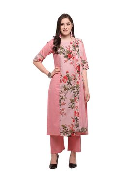 Inddus Pink Cotton Floral Print Dress Material