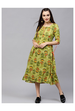 da9a126a31a6 Gerua Green Floral Print Below Knee Dress