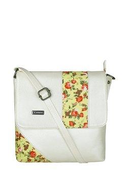 Esbeda White & Red Floral Flap Sling Bag