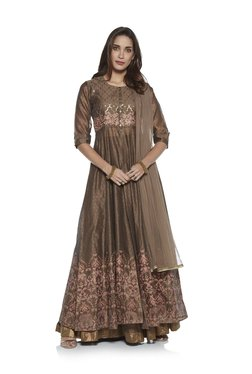 ec85e3dcb55 Vark by Westside Brown Anarkali Kurta And Skirt Ethnic Set