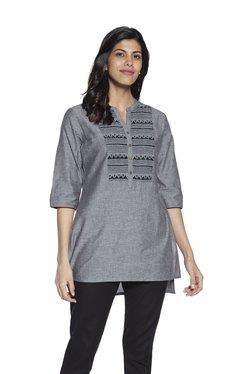 e192d59d84614 Utsa by Westside Grey Straight-Cut Hi-Low Embroidered Kurti