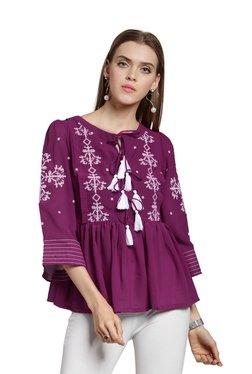 Plus S Purple Embroidered Peplum Top
