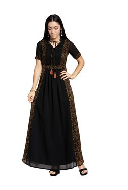 PlusS Black Floral Print Maxi Dress
