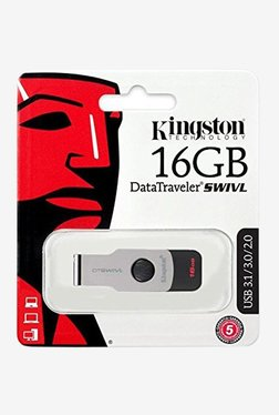 Kingston DTSWIVL USB 3.0 16GB DataTraveler SWIVL Memory Stick Drive (Grey/Black)