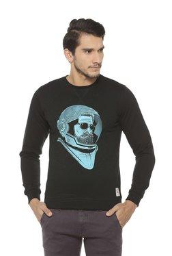 Peter England Black Printed Crew Neck Sweatshirt