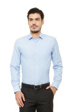 Peter England Light Blue Striped Full Sleeves Shirt