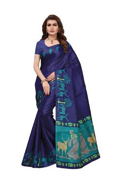 Ishin Navy Printed Saree With Blouse
