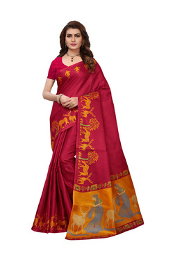 Ishin Red Printed Saree With Blouse - Mp000000003802405