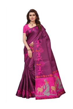 Ishin Purple Printed Saree With Blouse