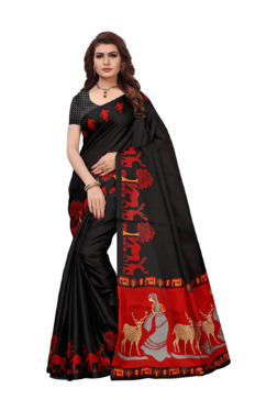 Ishin Black Printed Saree With Blouse - Mp000000003802409