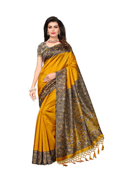 9010aedc41ed23 Ishin Mustard Printed Saree With Blouse