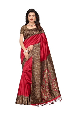 Ishin Red Printed Saree With Blouse - Mp000000003802415