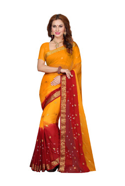 Ishin Yellow & Red Printed Saree With Blouse