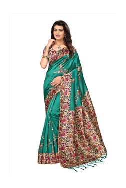 0ed803a6c0d07c Ishin Green Printed Saree With Blouse