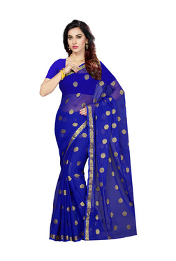 Ishin Blue Printed Saree With Blouse