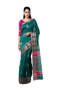 b282be4deb5c1 Soch Green Embroidered Cotton Saree With Blouse