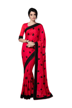 71dfef5b44007 Soch Red   Black Embroidered Saree With Blouse