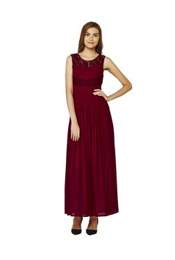AND Maroon Lace Maxi Dress