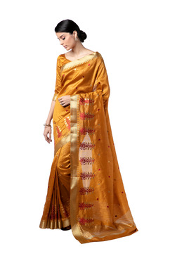 ea02b0fee5ee4 Soch Mustard Embroidered Saree With Blouse