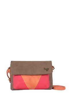 ae3338210e Baggit Lp Kosha Y G Z Krispa Smoke Beige   Pink Flap Sling Bag