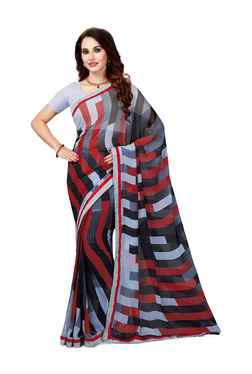 Ishin Grey & Red Striped Saree With Blouse