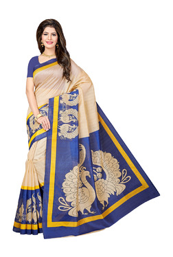 Ishin Beige & Blue Printed Saree With Blouse