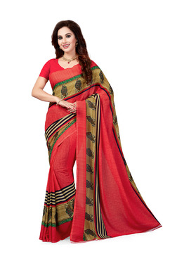 Ishin Red Printed Saree With Blouse - Mp000000003803461