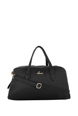 Lavie Black Solid Duffle Handbag