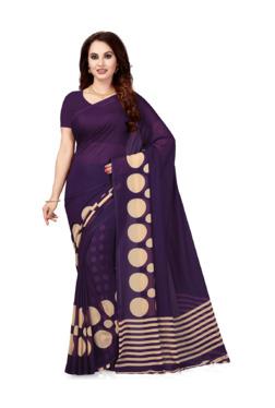 Ishin Purple Printed Saree With Blouse - Mp000000003804345