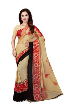 Ishin Beige Printed Saree With Blouse - Mp000000003804376