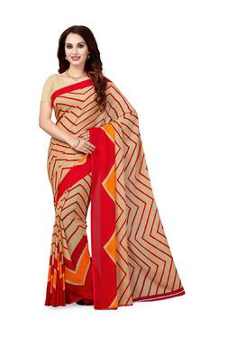 Ishin Beige Printed Saree With Blouse