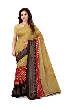 Ishin Beige Printed Saree With Blouse - Mp000000003804750