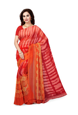 Ishin Red Printed Saree With Blouse - Mp000000003804798