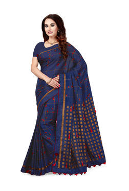 Ishin Navy Embellished Saree With Blouse