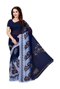 Ishin Navy Printed Saree With Blouse - Mp000000003804843