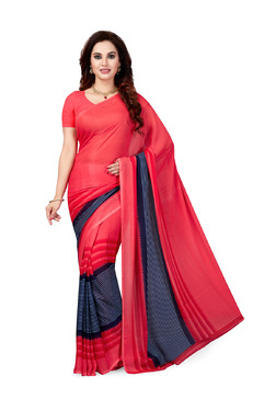 Ishin Pink & Navy Striped Saree With Blouse
