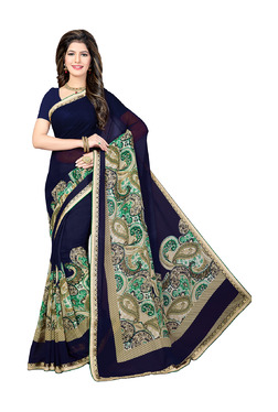Ishin Navy & Beige Printed Saree With Blouse