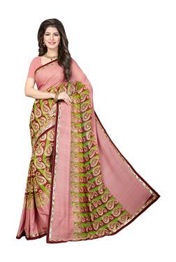 Ishin Pink Printed Saree With Blouse - Mp000000003804866
