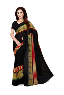 Ishin Black Printed Saree With Blouse - Mp000000003804881
