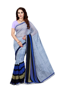 Ishin Grey & Blue Printed Saree With Blouse